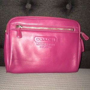 COACH Pink Leather Make Up Pouch